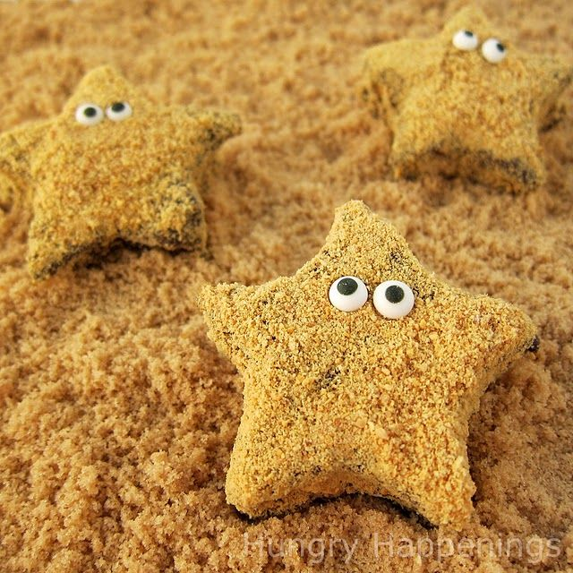 Starfish S'mores - homemade marshmallows, dipped in chocolate and graham cracker crumbs