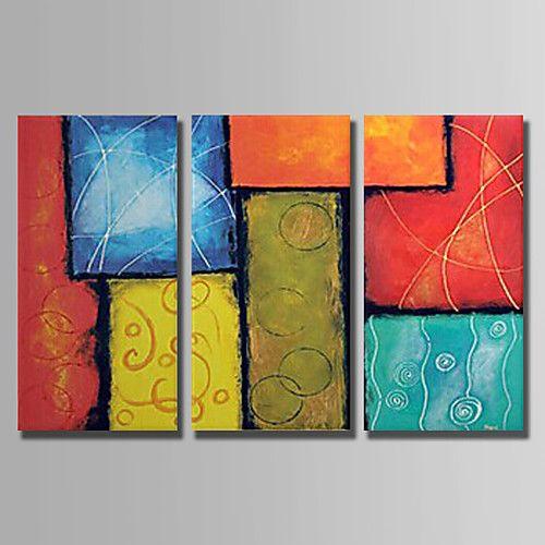 Peint à la main Nature morte Abstrait Trois Panneaux Toile Peinture à l'huile Hang-peint For Décoration d'intérieur de 2017 ? €52.49