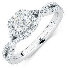 Michael Hill Designer Adagio Engagement Ring with 1.18 Carat TW of Diamonds in 14kt White Gold