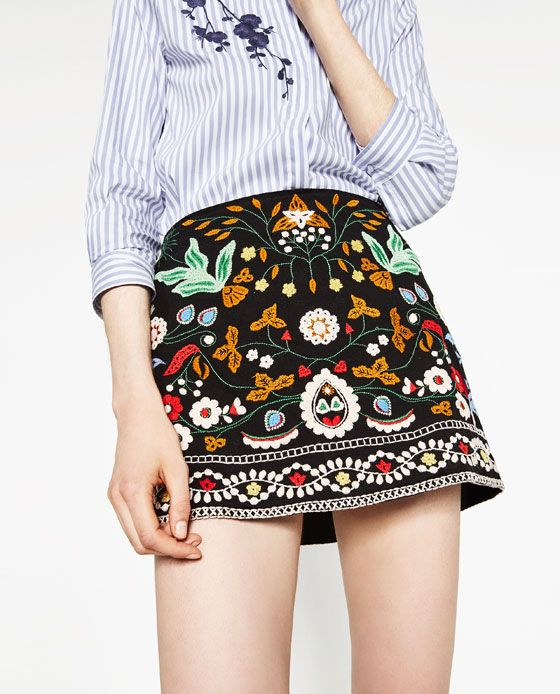 Image 4 of EMBROIDERED MINI SKIRT from Zara