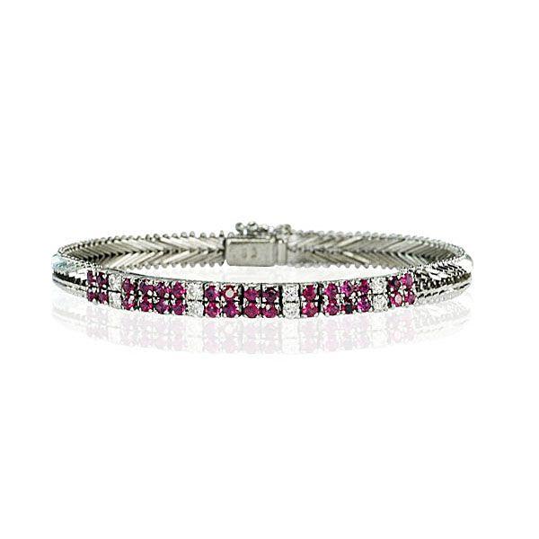 Rubin armband mit Diamanten 0,429ct mit Rubinen 2,021ct in Weissgold http://schmuck-boerse.com/index-gold-armschmuck-2.htm #Schmuckboerse #vintage #armband #diamant #brillant #antiquejewels #jewelry — hier: Schmuck-Boerse.