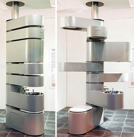 This all-in-one rotating bathroom fixture set is a way to pack everything into an incredibly small and relatively sleek space. You can spin things out as you use them and pick ever-new configurations to suit your needs. All in all this seems like a space-saving solution that could be applied in other places as well.