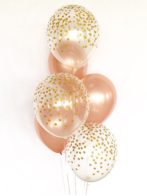 Rose Gold and Clear Gold Confetti Latex Balloons~First Birthday~Wedding~Bridal Shower~Birthday~Rose Gold Balloon~Gold Confetti Look Balloon