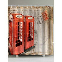 Vintage Telephone Booth Fabric Shower Curtain In Brown Beige | Twinkledeals.com