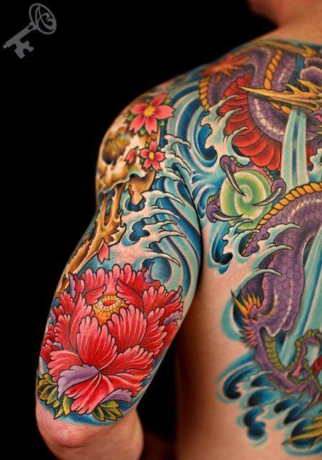 """Dragon's Rage."" Cherry Blossom. Muscle canvas. Tattoos, body art."