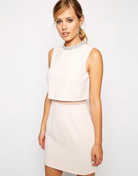 Asos robe beige rose courte pour mairiage