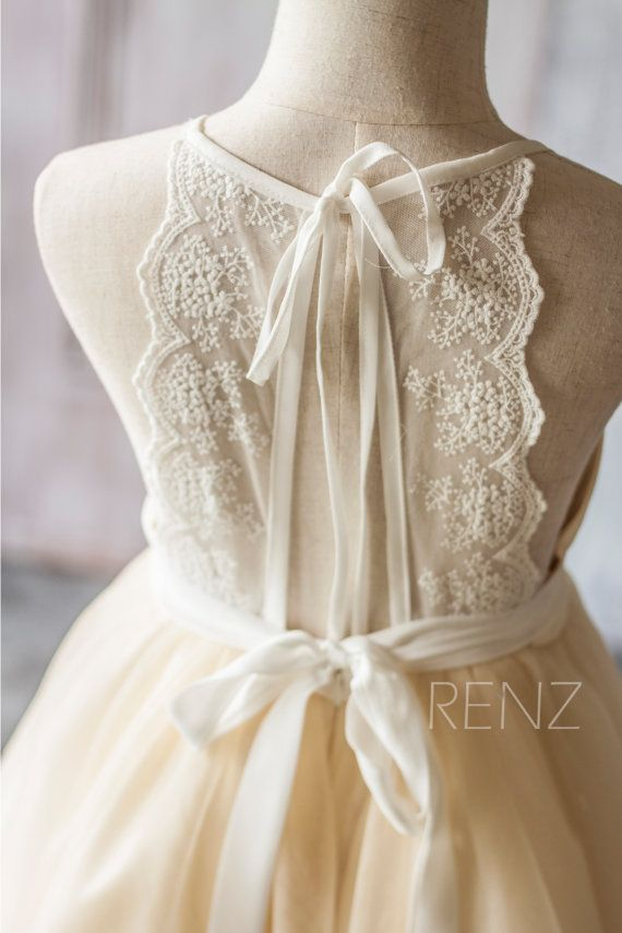 2016 Beige White Junior Bridesmaid Dress Spaghetti by RenzRags
