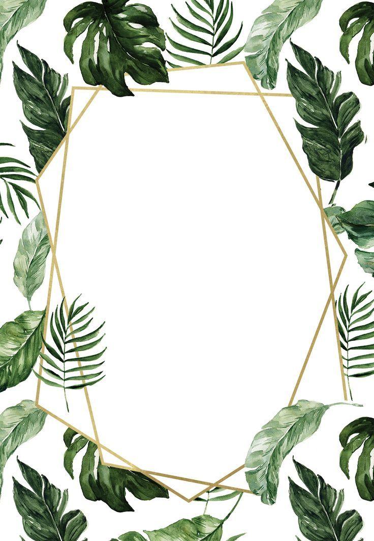 Tropical Leaves Wedding Invitation Template Free Em 2020 Ideias Para Cartaz Molduras Para Fotos Montagens Fotos De Folhas
