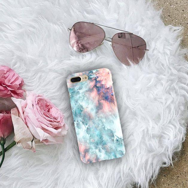 Rosa Blau Marmor iPhone Samsung Hüllen