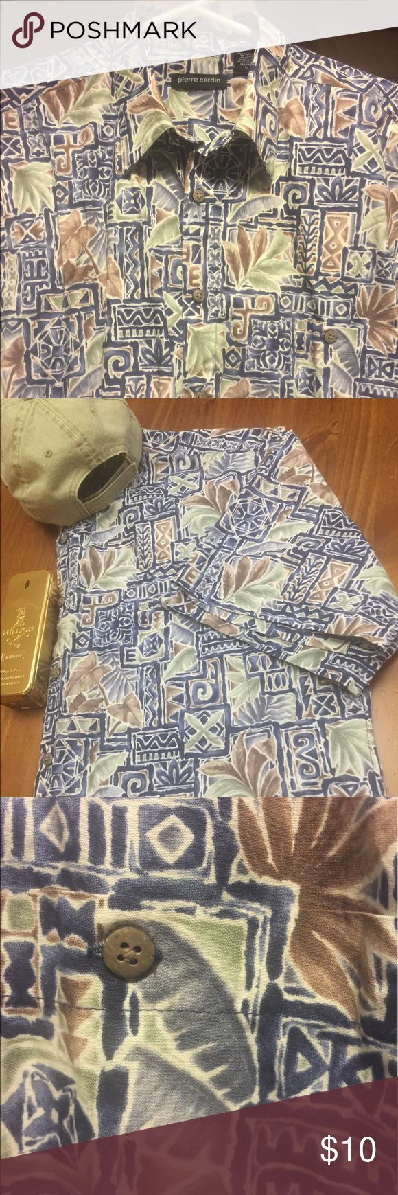 100% cotton shirt Pierre Cardin 100% cotton printed shirt. 7 button down in front, 2 extra buttons for replacement. Buttons are made from coconut shell. Left breast pocket with button closure. Feel good cotton shirt for that relaxing Caribbean Cruise 🚢 Pair with your favorite jeans 👖 and hat 🎩 Pierre Cardin Shirts Casual Button Down Shirts