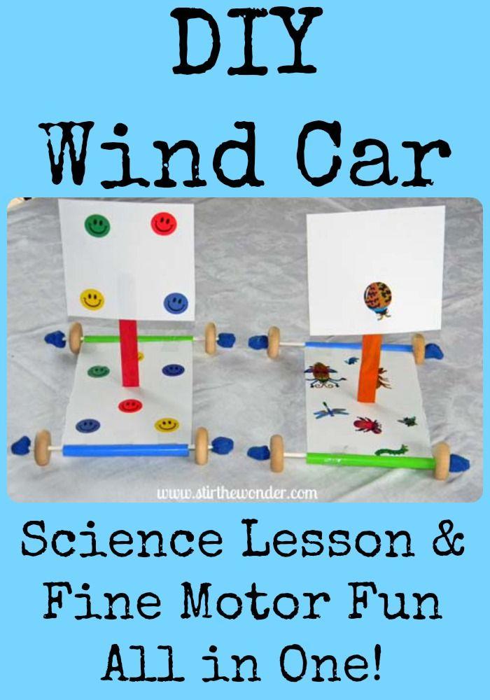 DIY Wind Car: Science Lesson & Fine Motor Fun #kbn #finemotor #science #preschool