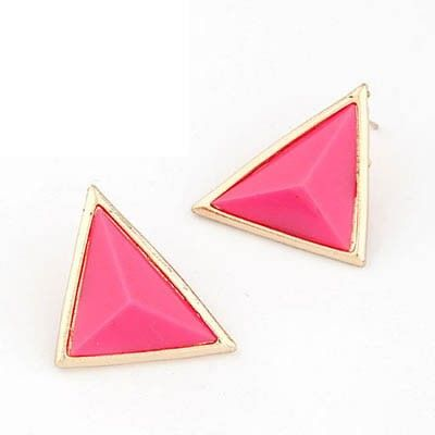 Plum Red Triangle bold Stud Earrings