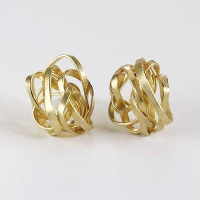 Golden scribble earrings