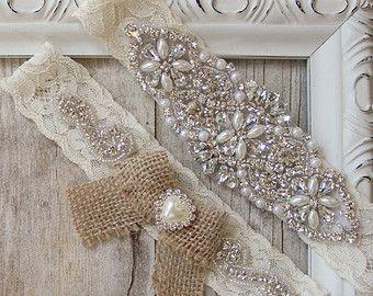 Rustic Garter Set Off White Wedding By FifthAvenueBridal