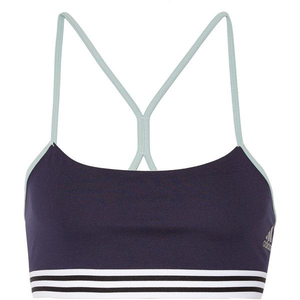 Adidas Performance Climalite stretch sports bra ($25) ❤ liked on Polyvore featuring activewear, sports bras, navy, striped sports bra, adidas, navy sports bra, adidas activewear and navy blue sports bra