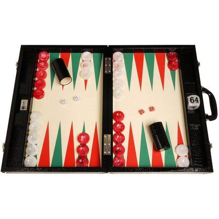 Wycliffe Brothers Tournament Backgammon Set, Black Croco with Cream Field (Green Points), Gen III