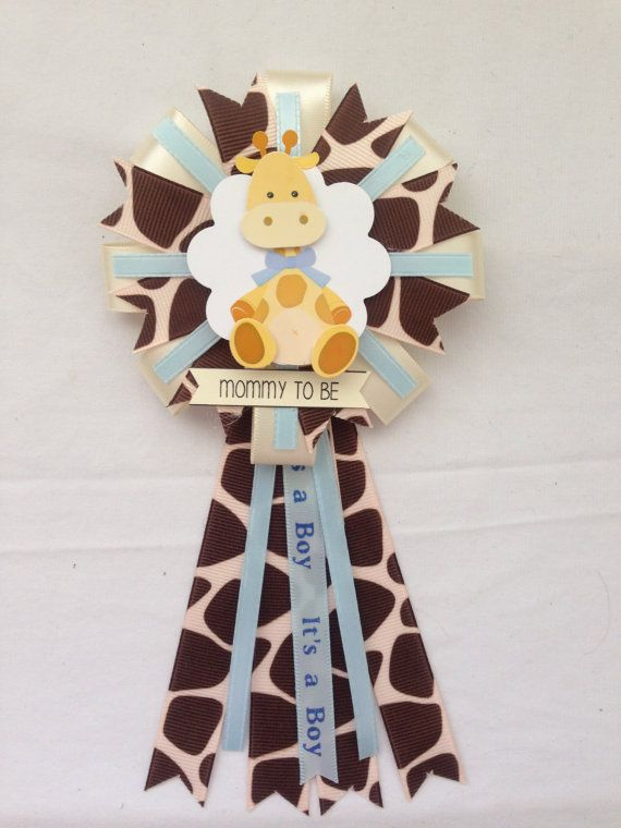 Mommy to be ribbon corsage baby boy giraffe by KatrinaInvites