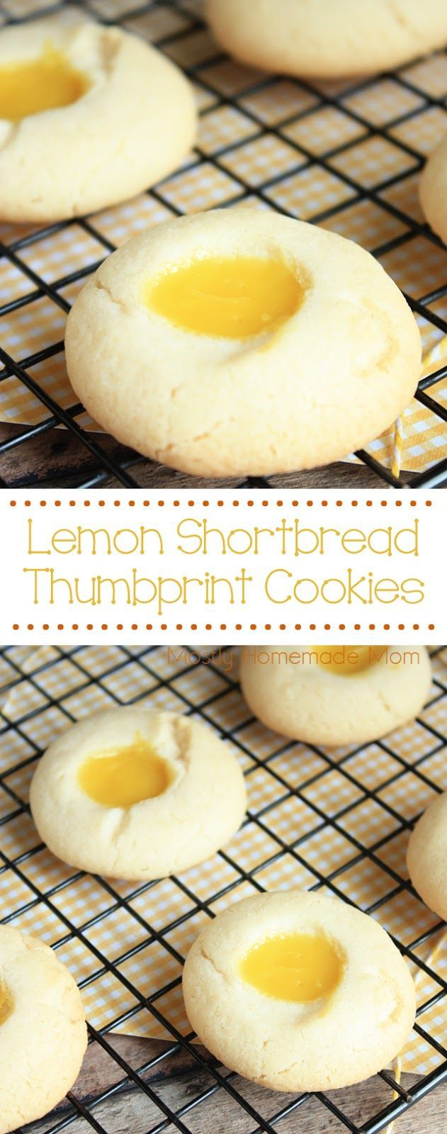 Lemon Shortbread Thumbprint Cookies - Light shortbread cookies filled with lemon pie filling, these cookies are perfect for lunchboxes and gifts because they stack so well!