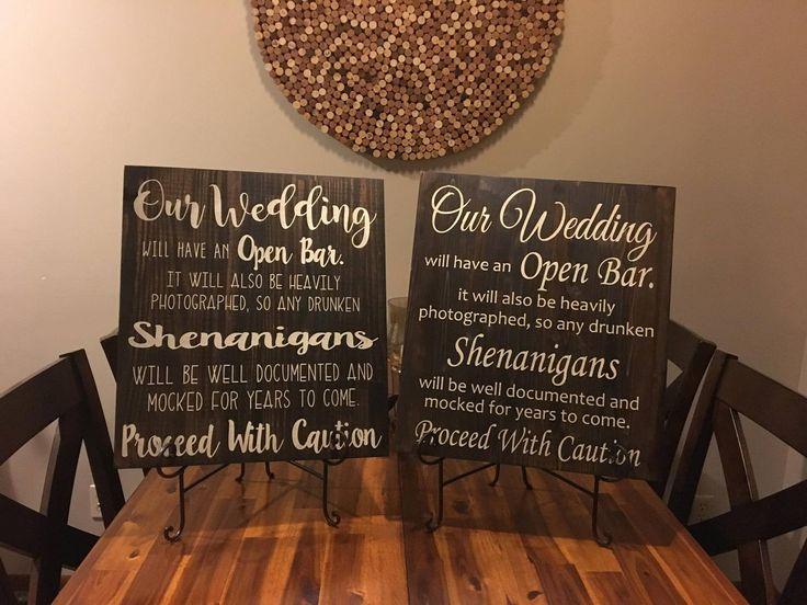 Open Bar Wedding Sign • Wedding Bar Decor • Rustic Wedding Decor • Wooden Wedding Sign by HookedbyKendra on Etsy