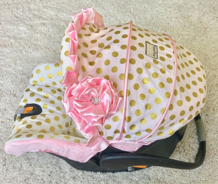 Custom Infant Car Seat Cover - Gold Dot and Baby Pink