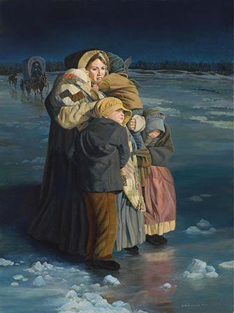 emma crossing river ice sacrifice children emma smith mississippi river frozen pioneers lds art