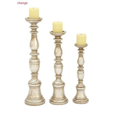 Decorative Polyresin Silver Candle Holder Set Of 3