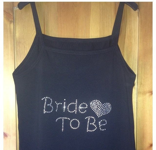 Swarovski bride to be vest top. Best top colours can be changed and can made in most sizes xxx