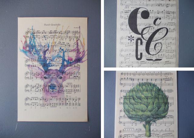 Partituras também ficam bonitas como base para desenhos, aquarelas e artes em geral...