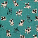 Tela de animales de Studio Choco Importado de Japón lona verde con perros en color natural y negro tejido de máxima calidad, con la perfección típica de los textiles japoneses colores...