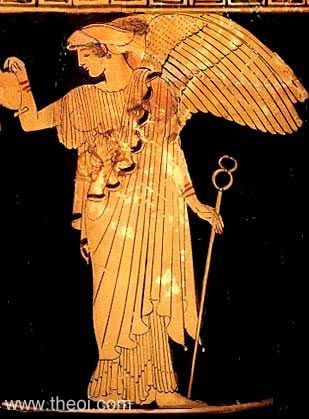Iris appears as a winged goddess, whose hair is wrapped in a sakkos scarf. She holds an oinochoe jug and kerykeion (herald's wand) in her hands.