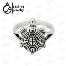 Beste kwaliteit hoge polish Antiek zilver Bohomian Boho Schildpad Pali Ring Groothandel 10 Stks/partij # R007(China (Mainland))