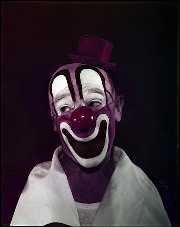 Stanley Kubrick ~ Clown, 1948 This is the scariest thing, ever. agh.