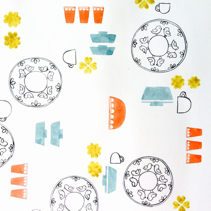 close-up of my new mid-century kitchen-inspired pattern. work-in-progress.