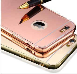 nice designer style rose gold iphone 5/5s/6/6s/6 plus mirrored case (iphone 5/s, rosegold)
