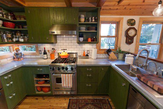 I love my green kitchen cabinets!: Kitchens Remodel, Green Cabinets, Small Kitchens, Rustic Kitchens, Kitchens Ideas, Green Kitchens, Colors Kitchens, Cool Kitchens, Kitchens Cabinets