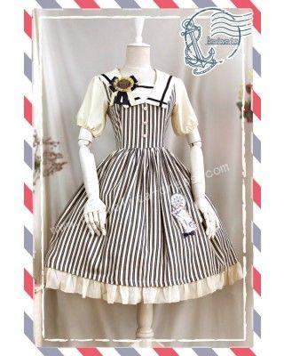 Infanta Black White Strips Lolita OP Dresss Sailor Style