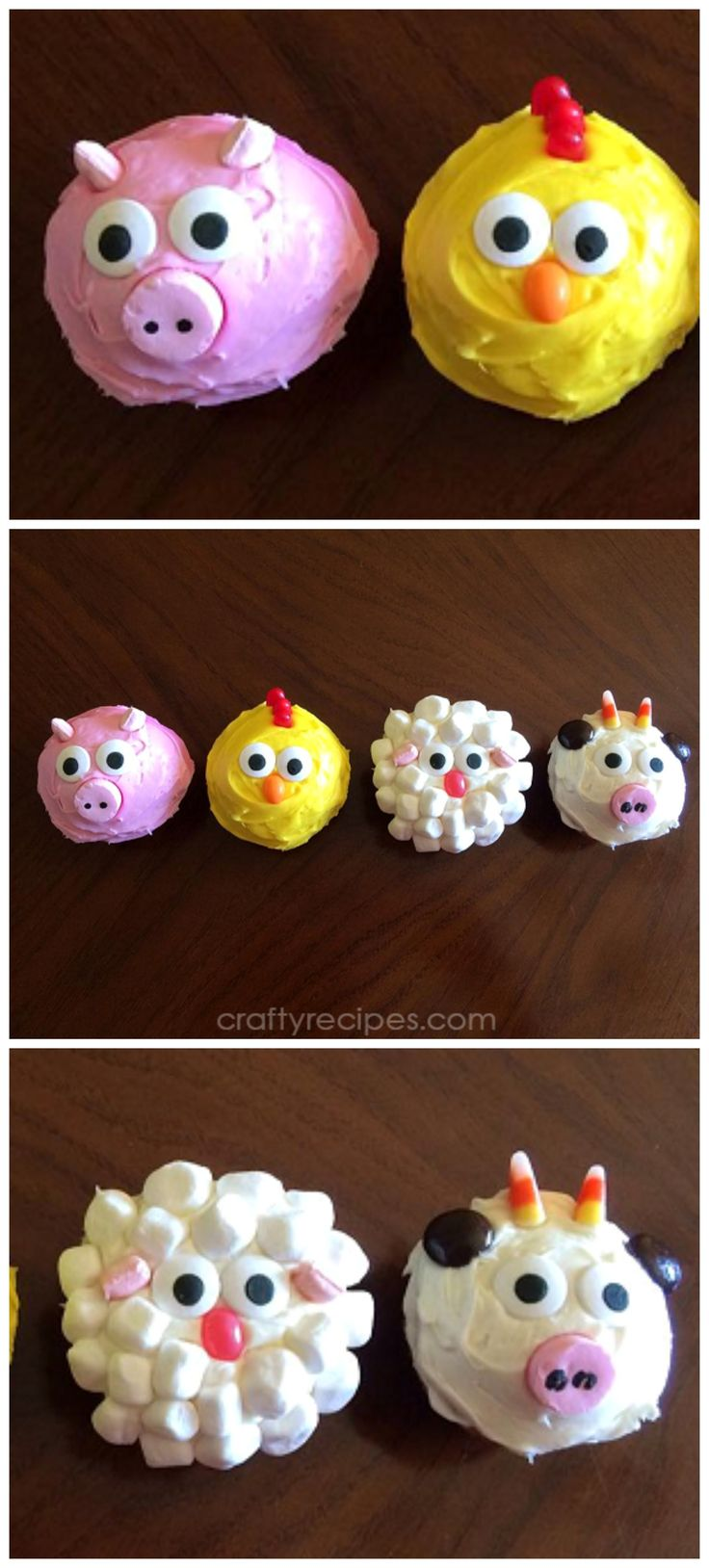 Adorable farm animal cupcakes for a kids party! Pig, chicken, sheep, and cow!