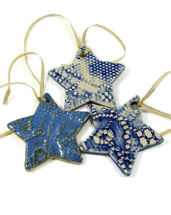 3 Ceramic Christmas Ornaments / Clay Handmade by PatsPottery