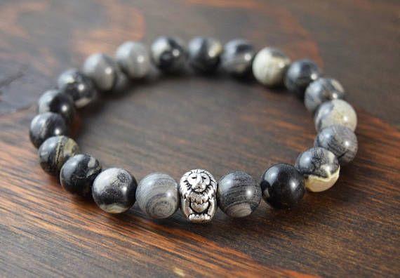 • Men's Jasper Bracelet - Men's Beaded Bracelet - Lion Bracelet - Men's Yoga Bracelet - Men's Christmas Gift - Men's Fashion - Lotus and Lava Bracelet •
