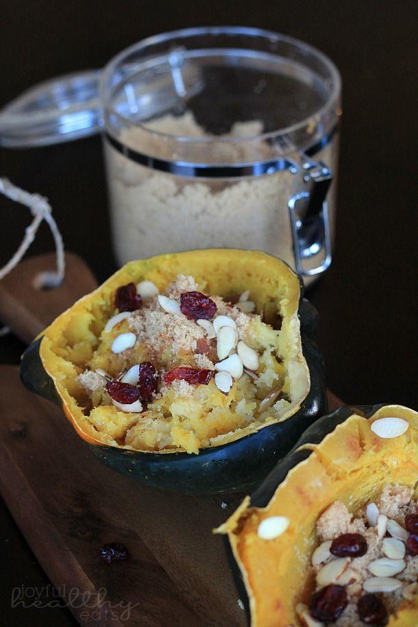 Roasted Acorn Squash with Cranberries, Almonds, & Brown Sugar   joyfulhealthyeats.com