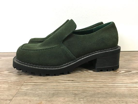 1a3921a45d69f Vintage 90s Green Platform Loafers Suede Leather Slip On Chunky ...