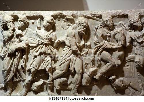 Ancient etruscan art. Sarcophagus of Chiusi, Tuscany.