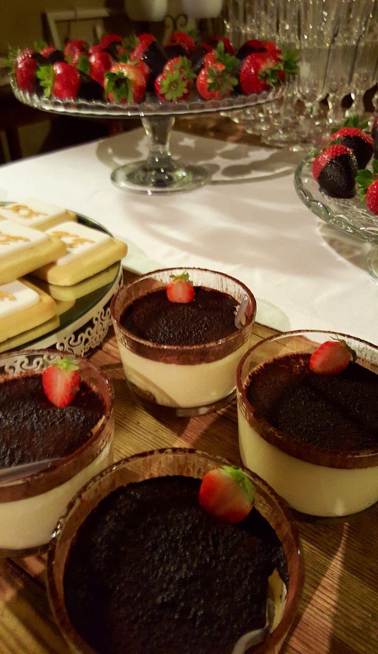 Sweet corner ! Tiramisu dessert Strawberry deep in chocolate for the Wedding sweets