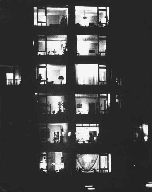 Illuminated building at night, Aart Klein, 1960s
