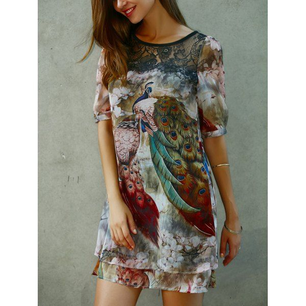 $22.10 Peacock Print Half Sleeve Dress
