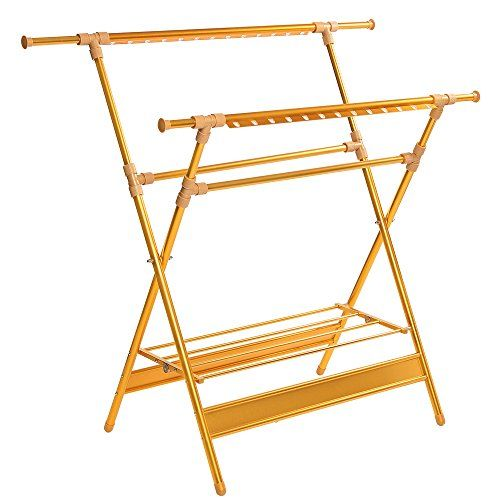 Foldable Drying Rack,Collapsible Clothes Drying Rack, Aluminum alloy,Double rod type ,Rust-proof Guarantee - Unlike typical painted steel or chrome plated rack, this rack is made of Aluminum alloy. Only stainless steel rack can be used both indoor and outdoor without becoming rusty. Its versatile foldable design allows easy storage without taking up spaces. It folds down to 3-inches flat for easy storag...