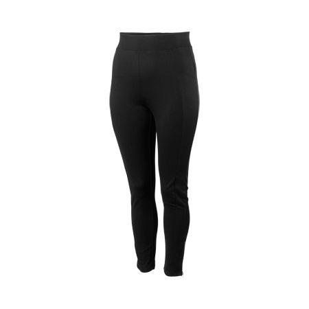 Svarta leggings med ankellånga ben från XLNT. Resårmudd i midja och guldfärgad dragkedja i benslut. Innerbenslängd 74 cm i storlek 48/50.
