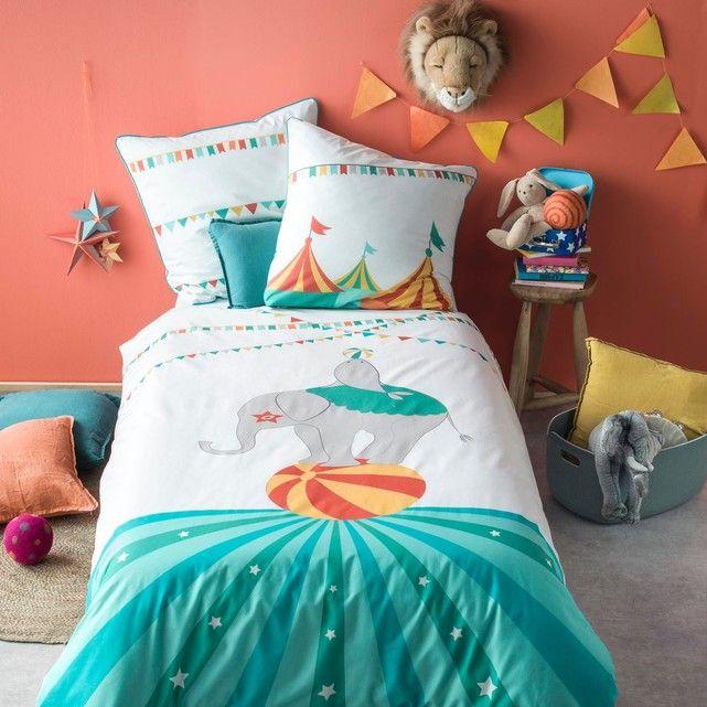 Parure de lit enfant imprimée - 100 % coton - blanc et multicouleur BLANC CERISE