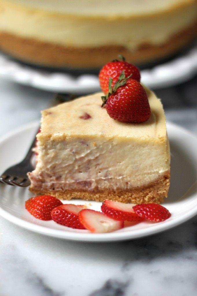 Roasted Strawberry Greek Yogurt Cheesecake - Creamy Greek yogurt Cheesecake swirled with Roasted Strawberries! Everyone loves this decadent treat!