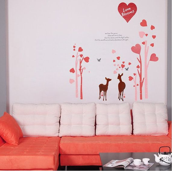 Love Blooms Love Tree with Deer Wall Sticker